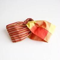 赤と黄の格子と縞柄ターバン【作家:さちの木】