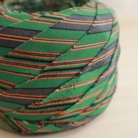 緑に茶・黒の縞模様・縮緬2m(10152)
