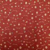 【はぎれ】赤錆色の茶道具小紋・葉っぱの紋織縮緬50㎝(2008032-1)