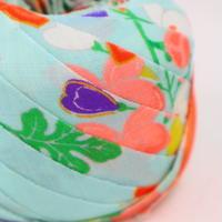 浅葱色に鮮やかな花柄・モスリン2m