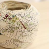 生成色(白に近い)露芝に秋草の花かご・縮緬2m(208055)