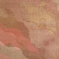 【はぎれ】茶・黄土色の雲どり柄・縮緬(2008020-1)