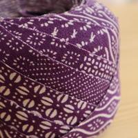 紫に吉祥模様や草花柄・交織2m(2007009)
