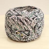 灰桜色の更紗風(立涌に花柄)型染め小紋・交織2m(2008009)