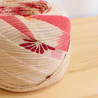 桃色の濃淡グラデーション・桐と菊柄・縮緬2m(2008098)