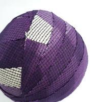 濃淡の紫に白の格子模様・紬2m