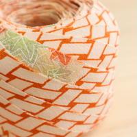 白地にオレンジの網代柄に紅葉と梅・縮緬2m(2008060)