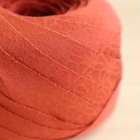 赤橙色の無地・紋縮緬2m(2008052)