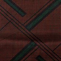 【はぎれ】茶に黒と緑の幾何学模様・大島紬50㎝(2107014ー1)