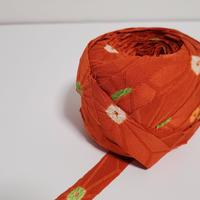 オレンジがかったくすんだ朱色・大きな麻の葉模様と絞り(10196)