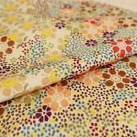 【はぎれ】クリーム色に色とりどりの花柄小紋・葉紋織縮緬50㎝(2008004-1)