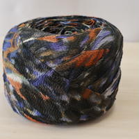 墨色に橙・青の抽象模様・縮緬2m(2004056)