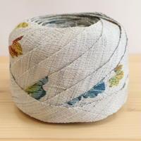 グレーに蔦柄・紬の小紋2m(2008096)