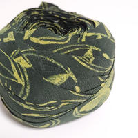深緑に草花柄(5085)