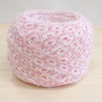 【特別価格・編み物応援80m】白地に桃色の鹿の子柄(2010022)
