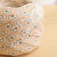 クリーム色に亀甲繋ぎ花柄・縮緬2m(2012012)