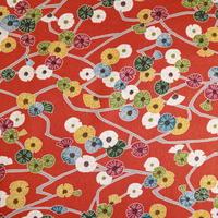 【はぎれ】赤土色に色とりどりの花柄小紋・縮緬50㎝(2008002-1)