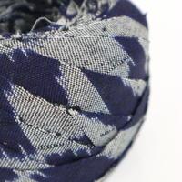 灰色と藍色のにじみ市松柄・ウール2m(2105013)