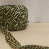 抹茶色に三角繋ぎ柄小紋・正絹2m(2008035)