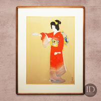 上村松園「序の舞」(木版手刷り・金箔)