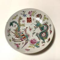 景徳鎮 粉彩 龍鳳双喜 茶壺盤 o-054