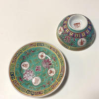 景徳鎮 万寿無疆 茶碗&皿セット グリーン o-082
