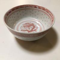 景徳鎮 透かし蛍 赤絵  茶碗  o-113