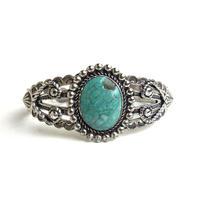 Round Turquoise Lasso Heart Bracelet / Fred Harvey Style