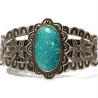 Turquoise Crossed Arrow 2 Shell Bracelet / Fred Harvey Style