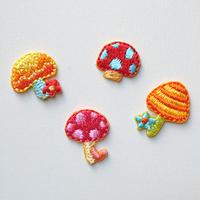 ミニキノコセット(ワッペン)【4枚セット】