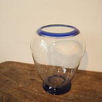 【古道具263 】大きな 青縁 和ガラス鉢
