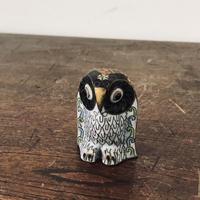 【古道具119】古くて 小さな 七宝 の鳥 置物 フクロウ