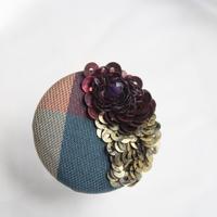 刺繍ブローチ(Kurumi和)アメジスト(2月誕生石)