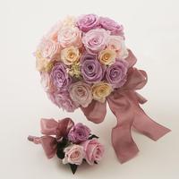 プリザーブドローズのブライダルブーケ/ラウンド【pink】