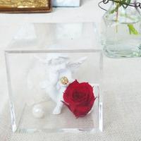 プリザーブドローズと天使のアレンジメント【classical red】