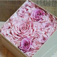 プリザーブドダイヤモンドローズとアジサイのギフトボックス【pink】