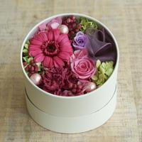 【早得対象商品】【プリザーブド】MOTHER'S DAYラウンドBOX/ Pink