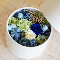 【プリザーブド】バラとアジサイのボックスアレンジメント/Blue&green