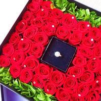 ウエディングナビPLAN【プロポーズに!】プリザーブドローズのジュエリーボックス/50輪