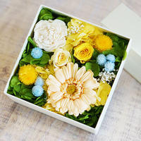 【プリザーブド】ガーベラとバラのボックスアレンジメント/Pale orange