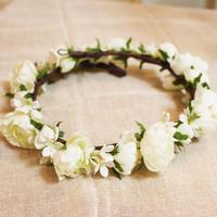 アートフラワー/ミニバラの花冠 White