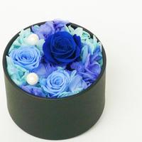 プリザーブドローズのBOXアレンジメント【blue&pearl】