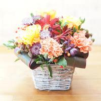 【生花】秋のお花のバスケットアレンジメント