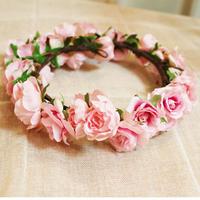 アートフラワー/ミニバラの花冠 Pink