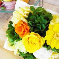 プリザーブドローズのスクエアアレンジメント【yellow】