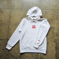 Square Logo Hoodie - White/Salmon Red