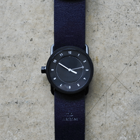 TID No.1 33mm Black / Navy Leather Wristband