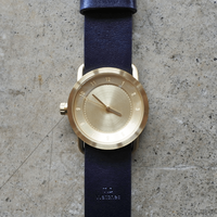 TID No.1 36mm Gold/Navy Leather Wristband