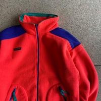 USED● 1990s Columbia コロンビア (Size L) Full Zip Fleece Jacket フルジップ フリースジャケット 蛍光ピンク Old オールド