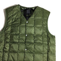 TAION Light Down V-neck Vest Olive Color / 体温 タイオン ダウンベスト ライトダウン